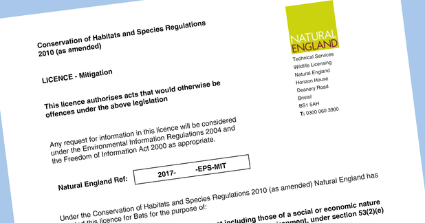 Natural England European Protected Species Mitigation Licence